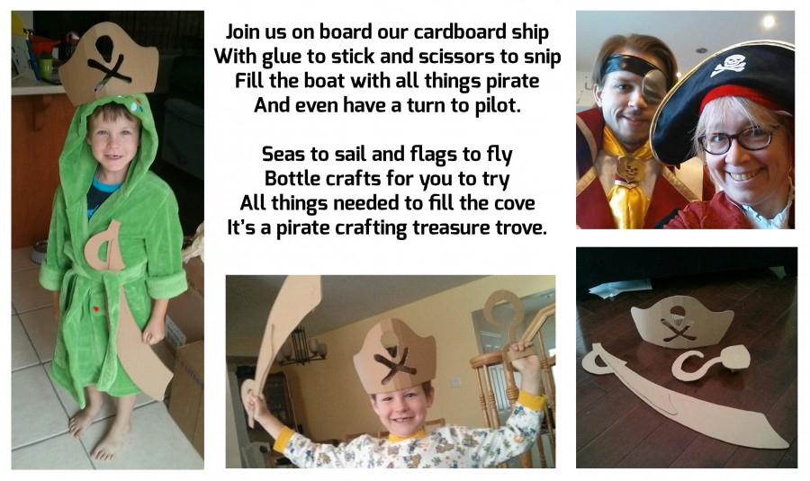 Join us on board our cardboard ship with glue to stick and scissors to snip. Fill the boat with all this pirate and even have a turn to pilot! Seas to sail and flags to fly, bottle crafts for you to try. All things needed to fill the cove -- it's a Pirate crafting treasure trove!