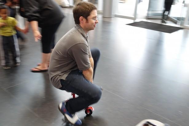 Drew Ripley riding his microbike.