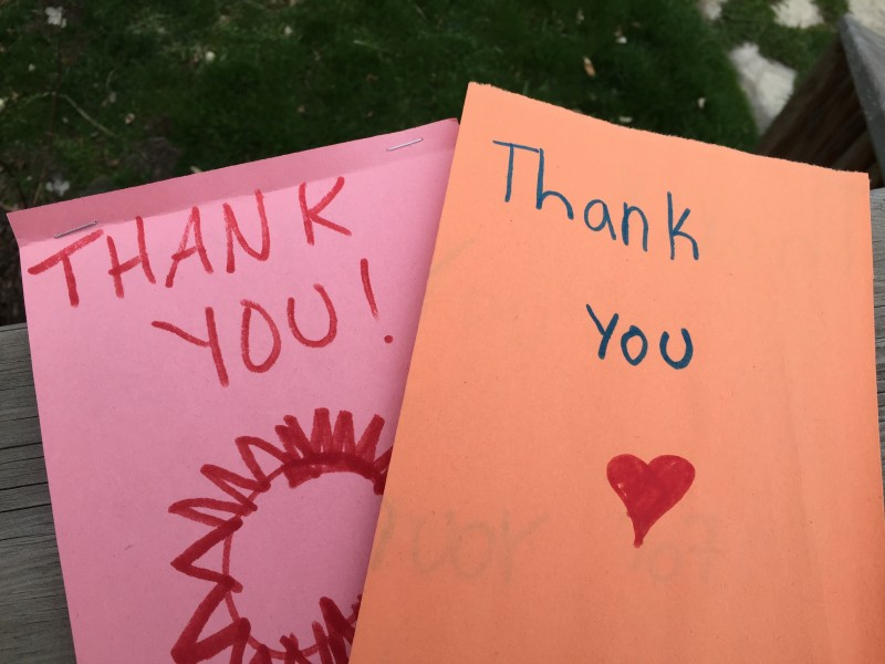 Thank you cards from kids in the Breakfast Program at Alyssa's school.